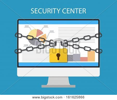 computer monitor are bound with chains and locked with a padlock. concept of security center. flat illustration concept for web banners, web and mobile app, web sites, infographics
