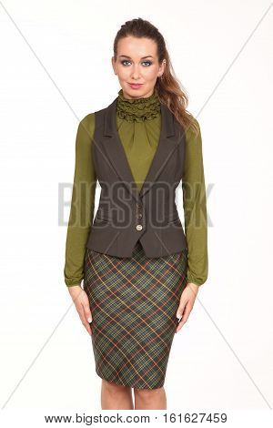 brown hair business executive woman with pony tail hair style in official vest and skirt high heel shoes going full body length isolated on white