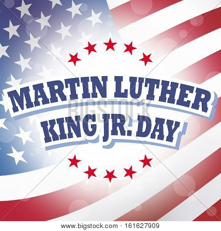 USA Martin Luther King Jr. Day banner with american flag background