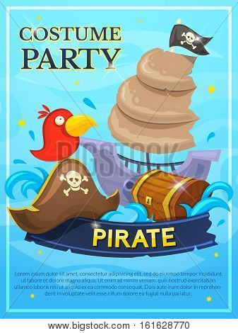 Pirate vector poster, costume party design invitation