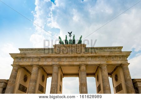 Brandenburg Gate (Brandenburger Tor), famous landmark in Berlin, Germany,rebuilt in the late 18th century as a neoclassical triumphal arch
