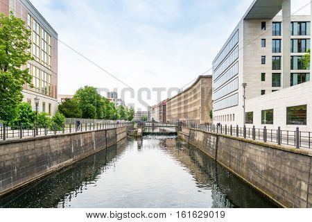 Typical Street view in Berlin with a population of approximately 3.5 million people.