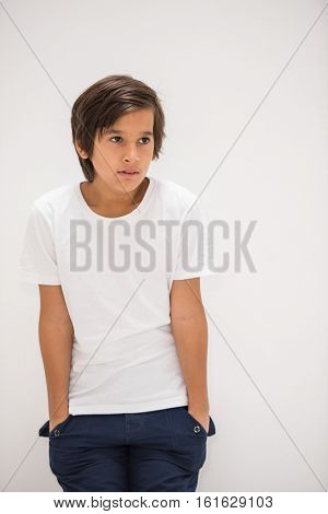 A boy posing in studio