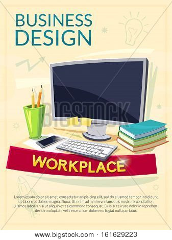 Workplace concept design, vector business poster with element interior