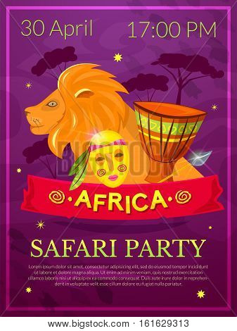 Safari party poster, Africa style night club, vector illustration