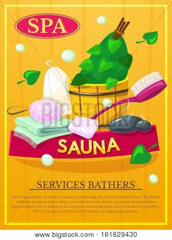 Sauna poster, Spa services advertising, vector illustration