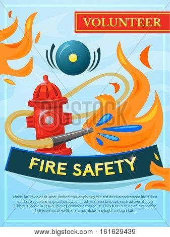 Fire safety vector poster, vector illustration fire extinguishing