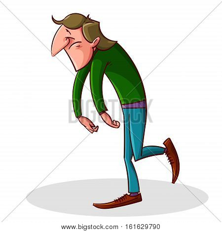 Colorful vector illustration of tired and depressed man walking