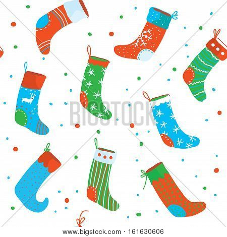 Christmas socks seamless pattern funny design - vector graphic illustration