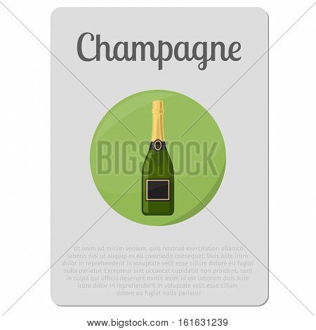 Champagne alcohol. Sticker with bottle and description. ector illustration