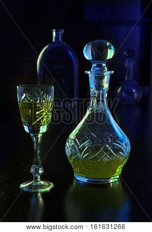 crystal glass and crystal decanter with liquor