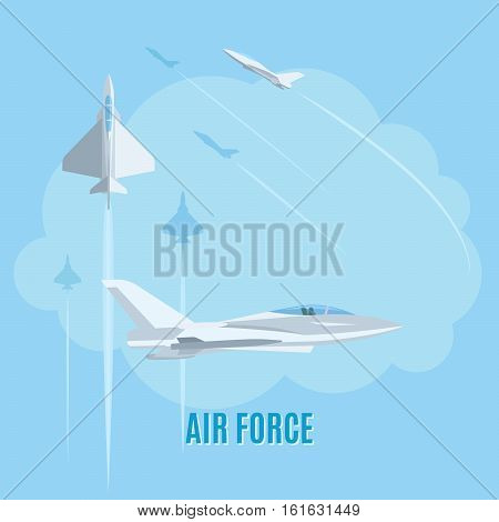 Air force with white airplanes on blue background vector illustration