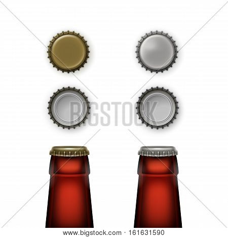 Vector Beer Transparent Brown Glass Bottle Necks with Caps of Different Color Top Back View for Branding Close up Isolated on White Background
