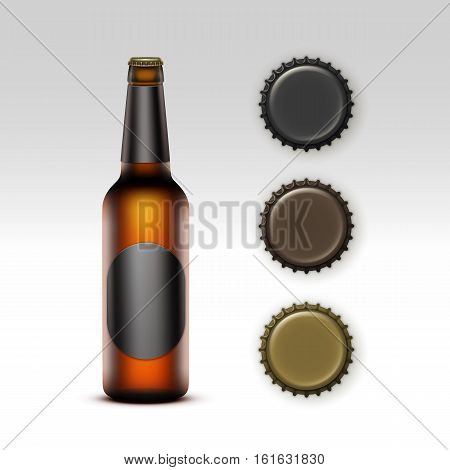 Vector Closed Blank Glass Transparent Brown Bottle of  Light Beer with  Black Round label and  Set of Caps of Different Color for Branding Close up Isolated on White Background.