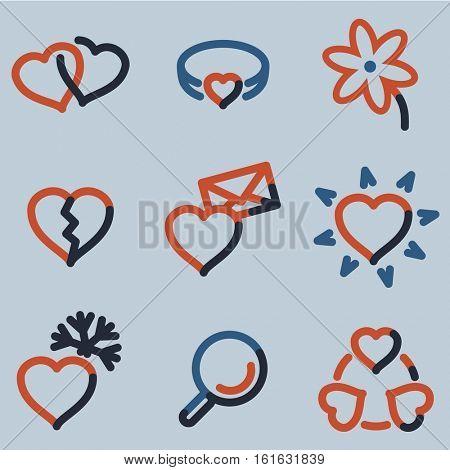Love icons, color contour series