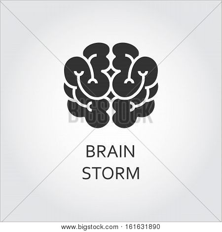 Shape simplicity icon of brain drawn in flat style. Brainstorm concept. Black silhouette logo for websites, mobile apps and other design needs. Vector contour graphics on white background.