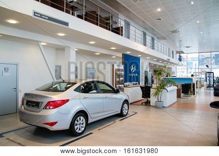 Showroom And Car Of Dealership Hyndai In Kirov City In 2016