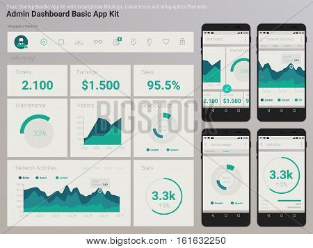 Flat design responsive Management and Administration Dashbord UI mobile app template on trendy subtle blurred background, with smartphone mockups and infographics charts kit