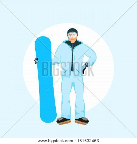 Snowboarder men standing with snowboard in winter ski sportswear and snowboard in hand. Fashion Vector flat design illustration eps 10