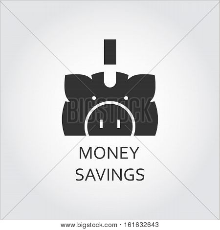 Label of money saving or save as piggy-bank pig. Simple black icon. Logo drawn in flat style. Black shape pictograph for your design needs. Vector contour silhouette on white background.