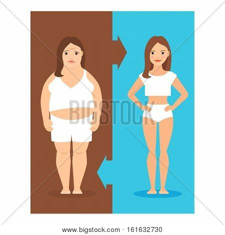 Weight loss concept. Slim and overweight girls vector illustration