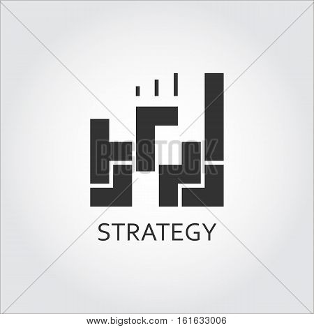 Label of strategy or plan solution as game. Simple black icon. Logo drawn in flat style. Black shape pictograph for your design needs. Vector contour silhouette on white background.