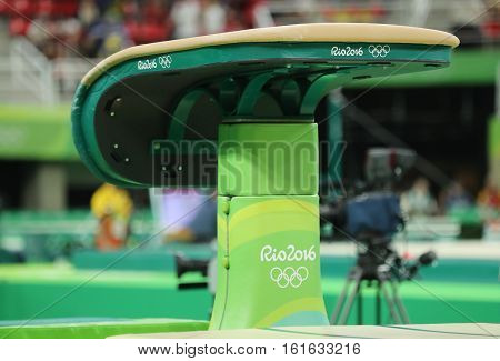 RIO DE JANEIRO, BRAZIL - AUGUST 11, 2016: The vault  at Rio Olympic Arena during Rio 2016 Olympic Games