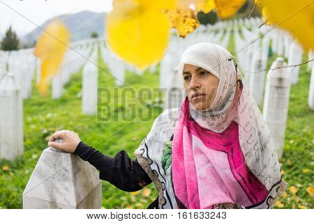 Srebrenica memorial center for war crimes victims commited in Bosnian war