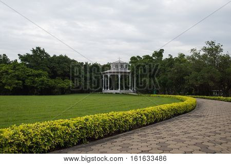 White pavilion in the garden at Suanluang Rama 9 public park Bangkok Thailand.