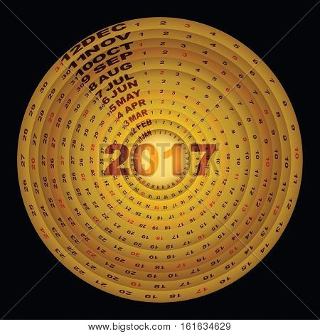Golden rings design template of 2017 calendar stock vector