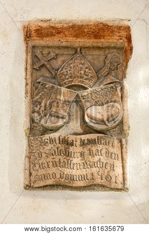 SALZBURG AUSTRIA - APRIL 29 2016: Coat of arms on the wall in Hohensalzburg Castle. Salzburg Austria