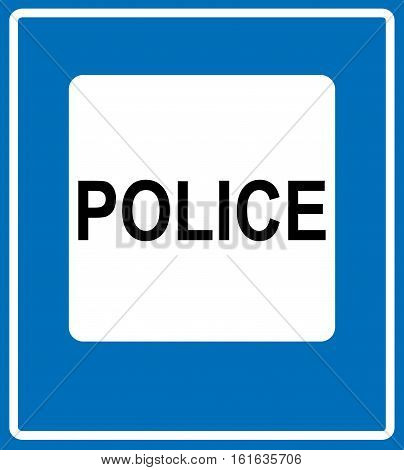 Vector Police Road Sign Icon. Traffic symbol for road in white square isolated on blue. Vector illustration