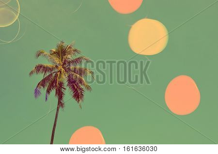 Palm Tree Double Exposure With Colorful Bokeh Light Abstract Background.