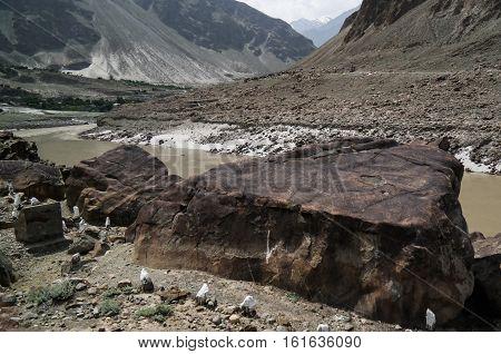 Petroglyphs at the bank of Indus river Karakorum Chilas Gilgit-Baltistan Pakistan