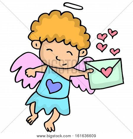 Romance cupid with latter cartoon vector illustration