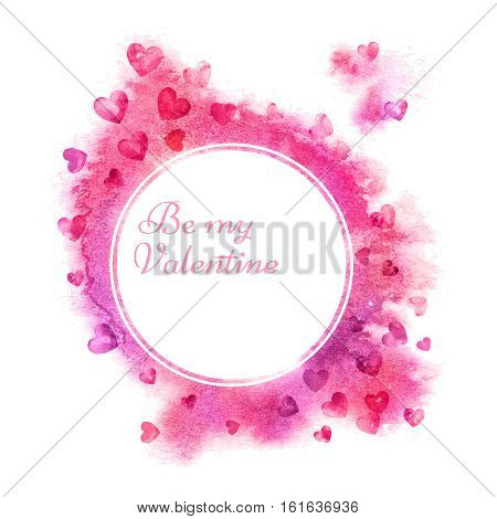 Valentines day background. Watercolor Grunge background with Hearts. Valentine poster. Love background