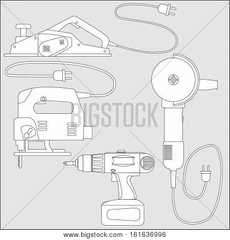 Set of power tools: screwdriver, planer, jig saw, angle grinder. Vector outline sketch of equipment for construction and repair.