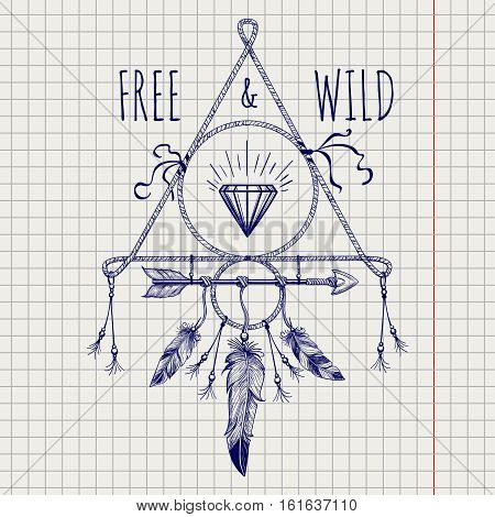 Native american feathers cristall sketch design vector illustration