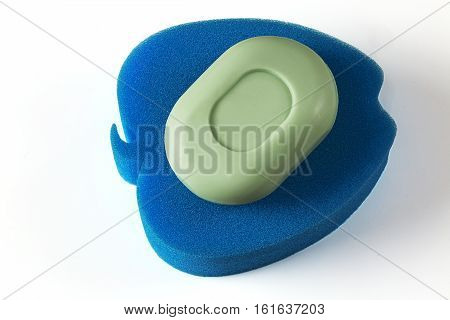 soap and sponge on a white background