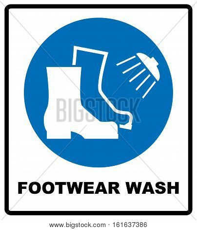 Footwear wash sign. Information mandatory symbol in blue circle isolated on white. Vector illustration