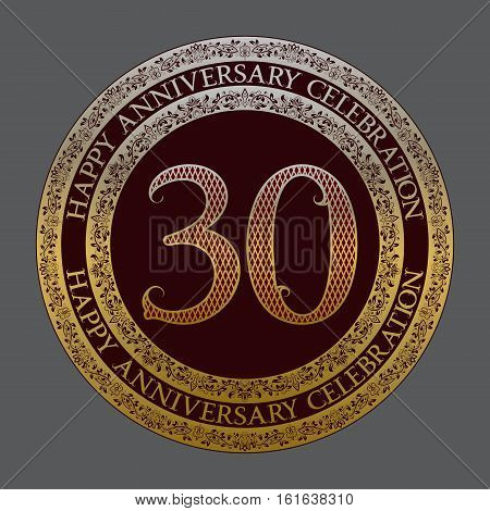 Thirtieth happy anniversary celebration logo symbol. Golden maroon medal emblem in vintage style.
