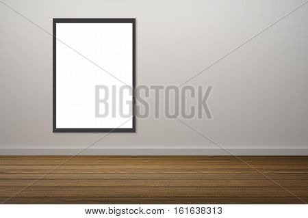 White Poster And Black Frame Of Picture Haning In Empty Room.space For Your Text And Picture.product