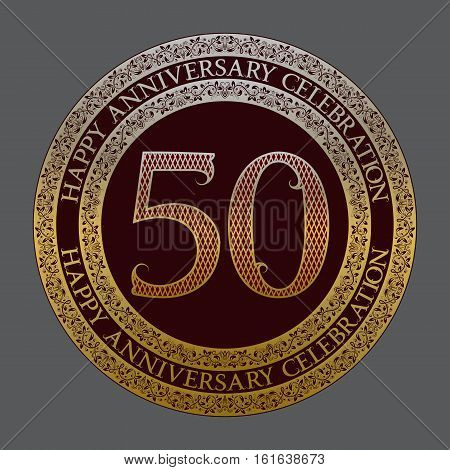 Fiftieth happy anniversary celebration logo symbol. Golden maroon medal emblem in vintage style.