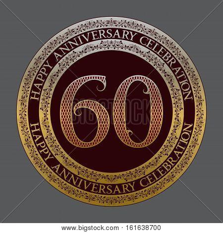 Sixtieth happy anniversary celebration logo symbol. Golden maroon medal emblem in vintage style.