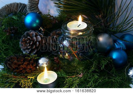 Home comfort at Christmas - candles and holiday decorations