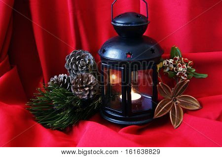 Christmas arrangement on a bright red background