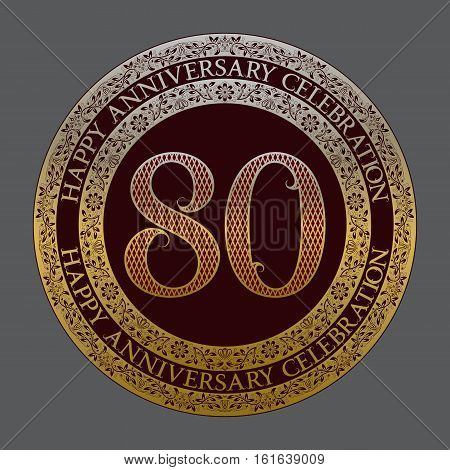 Eightieth happy anniversary celebration logo symbol. Golden maroon medal emblem in vintage style.