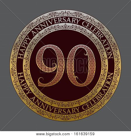 Ninetieth happy anniversary celebration logo symbol. Golden maroon medal emblem in vintage style.