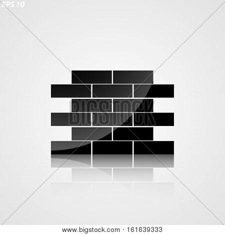 Icon Silhouette Of Masonry On White Background