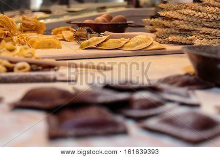 Tortellini, Tagliatelle Italian Pasta, Cutter Rolling Pin, Sheaves Of Wheat And Egg On Flour